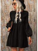 Jednolity Suknie shift Długie rękawy Mini Mała czarna Nieformalny Tunika Modne Suknie