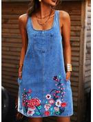 Blommig Print Shiftklänningar Ärmlös Mini Jeans Fritids Tank Modeklänningar
