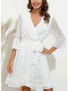 Solid Sheath 3/4 Sleeves Mini Casual Elegant Wrap Dresses