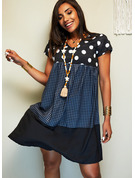 Plaid PolkaDot Shift Short Sleeves Midi Casual T-shirt Dresses