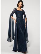 Sheath/Column Square Neckline Floor-Length Chiffon Lace Evening Dress With Beading Sequins