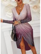 flitry Pouzdrové Dlouhé rukávy Midi Party Elegantní Módní šaty