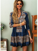Print Shift 3/4 Sleeves Mini Casual Tunic Dresses