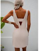 Couleur Unie Fourreau Sans Manches Mini Fête Sexy Robes tendance