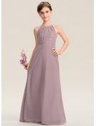 A-Linie U-Ausschnitt Bodenlang Chiffon Spitze Kleid für junge Brautjungfern mit Rüschen