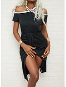 Solid Skede Korte ærmer Midi Den lille sorte Party Mode kjoler