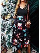 Estampado Vestido linha-A Manga Comprida Midi Natal Skatista Vestidos na Moda