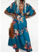 フローラル 印刷 シースドレス 3/4袖 ミディ エレガント 休暇 ファッションドレス