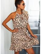 Nadruk Sukienka Trapezowa Bez Rękawów Mini Nieformalny Łyżwiaż Modne Suknie