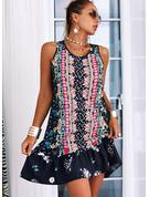Kwiatowy Nadruk Suknie shift Bez Rękawów Mini Nieformalny Modne Suknie