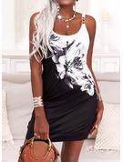 Farbblock Blumen Druck Etuikleider Ärmellos Mini Lässige Kleidung Typ Modekleider