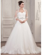 Robe Marquise Amoureux Traîne mi-longue Tulle Robe de mariée avec Plissé Brodé Paillettes