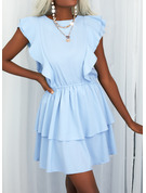 Solid Ruffles A-line Short Sleeves Mini Casual Skater Dresses