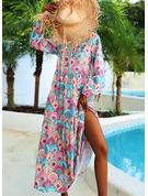 Tisk Šaty Shift Dlouhé rukávy Maxi Boho Neformální Dovolená Módní šaty