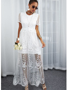 Blonder Solid Kjole med A-linje Korte ærmer Maxi Elegant skater Mode kjoler