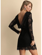 Lace Solid Sheath Long Sleeves Mini Little Black Party Elegant Sexy Dresses