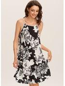 Květiny Tisk Pouzdrové Bezrukávů Mini Boho Neformální Dovolená Typ Módní šaty