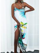 Blumen Druck A-Linien-Kleid Ärmellos Maxi Lässige Kleidung Urlaub Skater Typ Modekleider