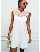Lace Solid Hollow-out Shift Sleeveless Mini Casual Dresses