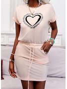 Impresión Corazón Cubierta Manga Corta Mini Casual Vestidos de moda
