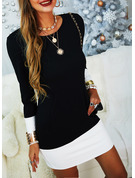 Color Block Bodycon Long Sleeves Mini Casual Dresses