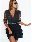 スパンコール 固体 Aラインワンピース 長袖 ミニ リトルブラックドレス パーティー スケーター ファッションドレス