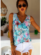 Print V-Neck Sleeveless Casual Sexy Tank Tops