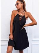 Solid Backless Shift Sleeveless Midi Little Black Casual Dresses