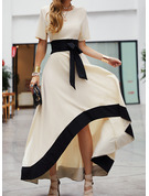 Color Block A-line Short Sleeves Asymmetrical Party Elegant Skater Dresses