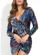 Sequins Sheath Long Sleeves Mini Party Dresses