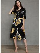 Floral Print A-line 1/2 Sleeves Long Sleeves Maxi Midi Casual Shirt Dresses