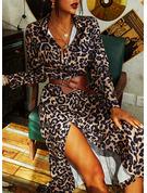 Leopard Etui Lange Ärmel Maxi Lässige Kleidung Modekleider