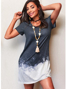 Tie Dye Shift Short Sleeves Midi Casual T-shirt Dresses
