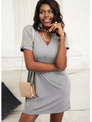 Solid Shiftklänningar Korta ärmar Mini Fritids t-shirt Modeklänningar