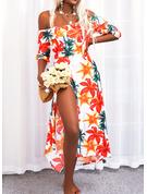 Blomster Print Kjole med A-linje 1/2 ærmer Maxi Casual Ferie skater Mode kjoler