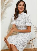 Print Bodycon Puf-ærmer Korte ærmer Midi Elegant Blyant Mode kjoler