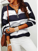 Color Block Print V-Neck Long Sleeves Sweatshirt