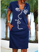 Print Bodycon Short Sleeves Midi Casual Pencil Dresses