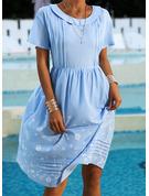 Floral Print Shift Short Sleeves Midi Casual Tunic Dresses