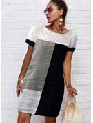 Color Block Shift Short Sleeves Midi Casual Tunic Dresses