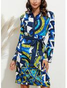 Geometrik Baskı Manşon Mâneci Scurte Midi gündelik Tip Cămaşă Moda Elbiseler