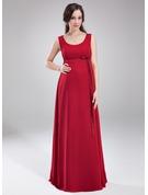 Empire-Linie U-Ausschnitt Bodenlang Chiffon Brautjungfernkleid Für Schwangere mit Schleife(n)