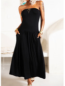 Sólido Vestido línea A Sin mangas Maxi Casual Vestidos de moda