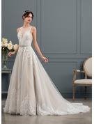 Robe Marquise/Princesse Illusion Traîne mi-longue Tulle Robe de mariée avec Paillettes