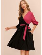 Trozos de color Vestido línea A Manga Larga Midi Elegante Patinador Bolero Vestidos de moda