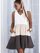 Colorido Vestidos soltos Sem mangas Mini Casual Tanque Vestidos na Moda