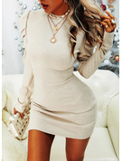 Solid Bodycon Long Sleeves Puff Sleeves Mini Casual Dresses