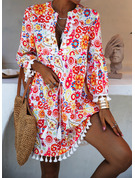 Floral Print Shift 3/4 Sleeves Flare Sleeve Mini Boho Casual Vacation Tunic Dresses