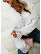 Lace Solid V-Neck Long Sleeves Button Up Elegant Blouses