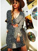 Leopardo Vestido linha-A Manga Comprida Mini Casual Skatista Vestidos na Moda